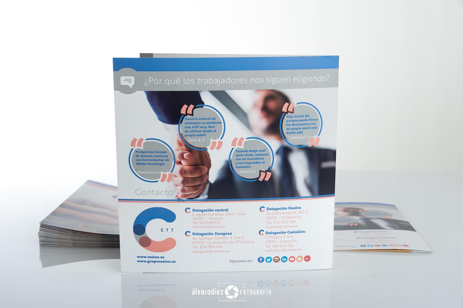 Díptico publicitario Cesión - Diseño e impresión Imagina Arte Gráfico