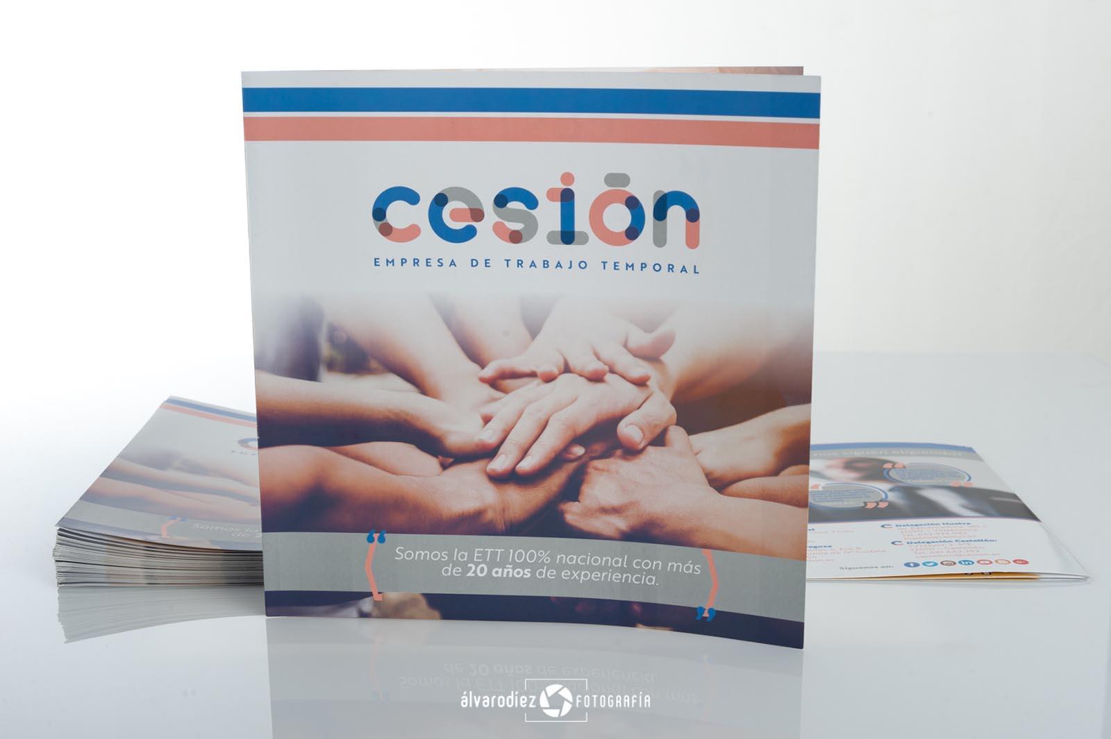 Díptico publicitario Cesion