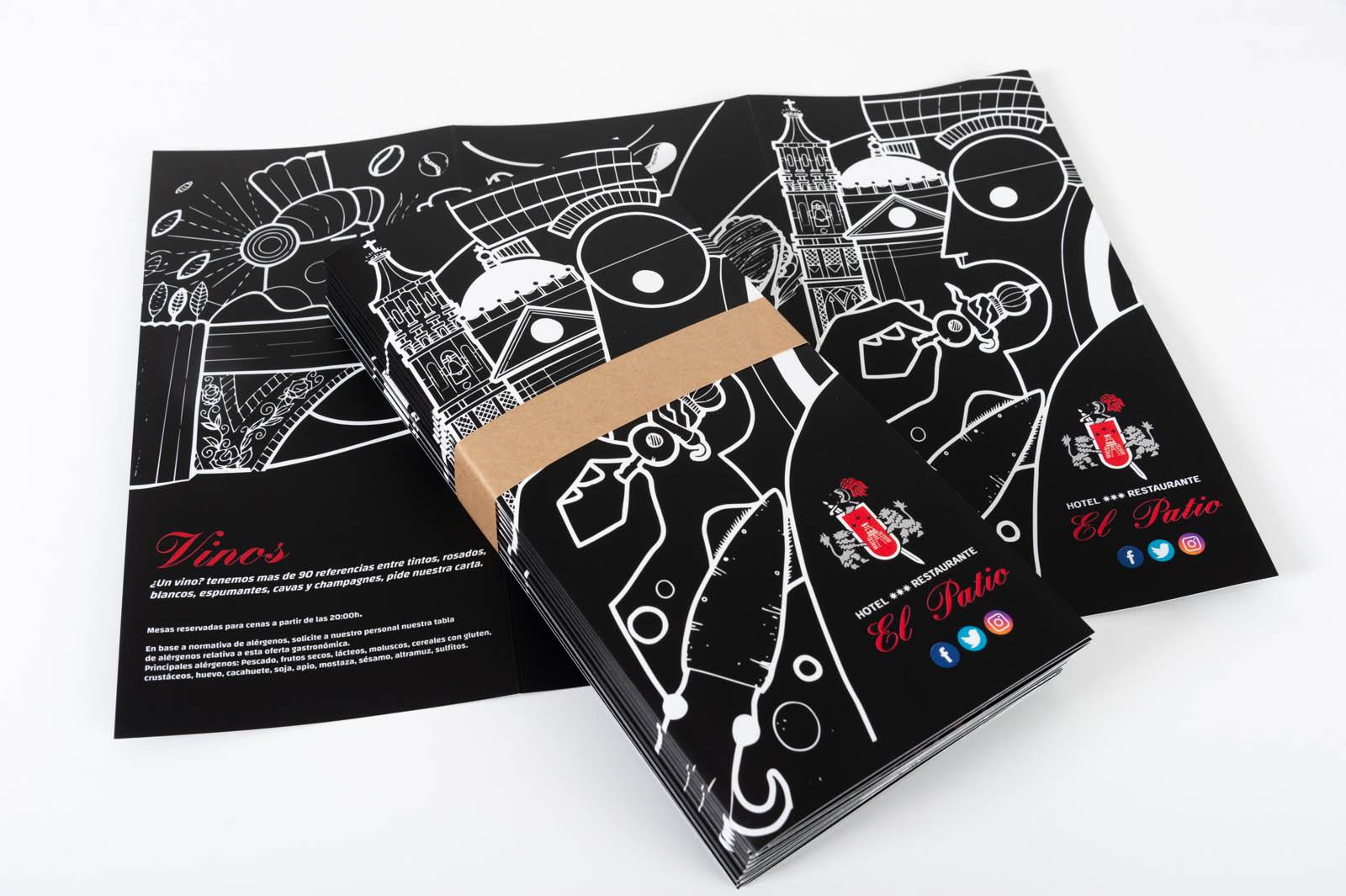 Carta Restaurante El Patio - Diseño e impresión Imagina Arte Gráfico