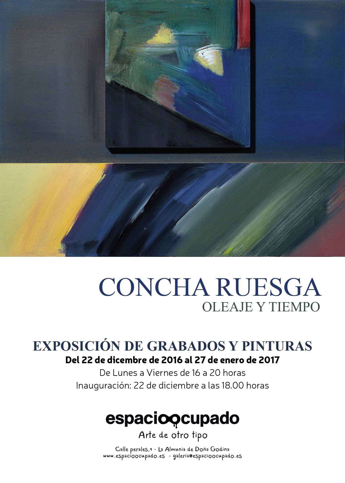 Cartel Exposición de pintura y grabado de Concha Ruesga - Oleaje y Tiempo en Imagina Arte Gráfico