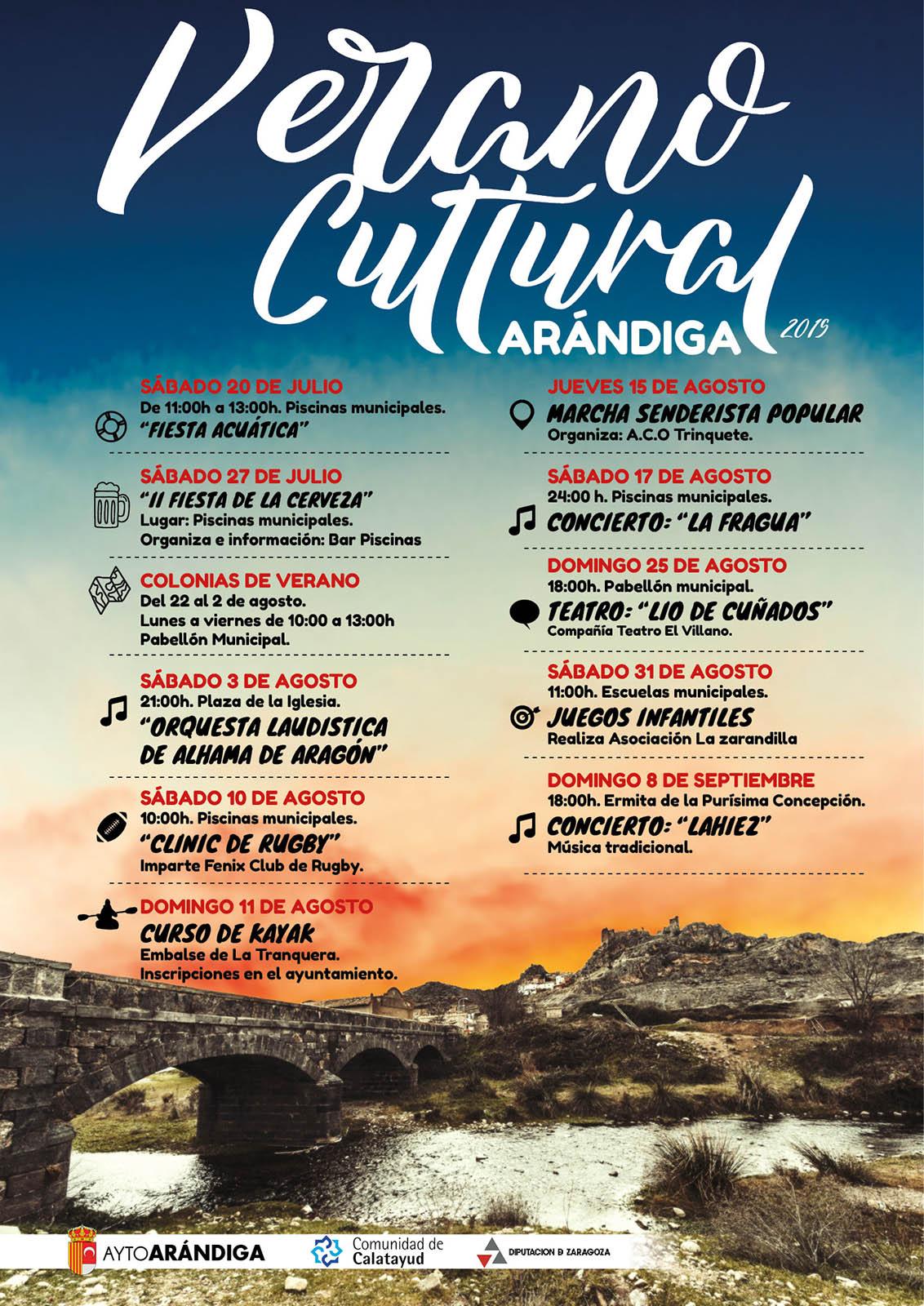 Cartel Verano Cultural Arándiga 2019