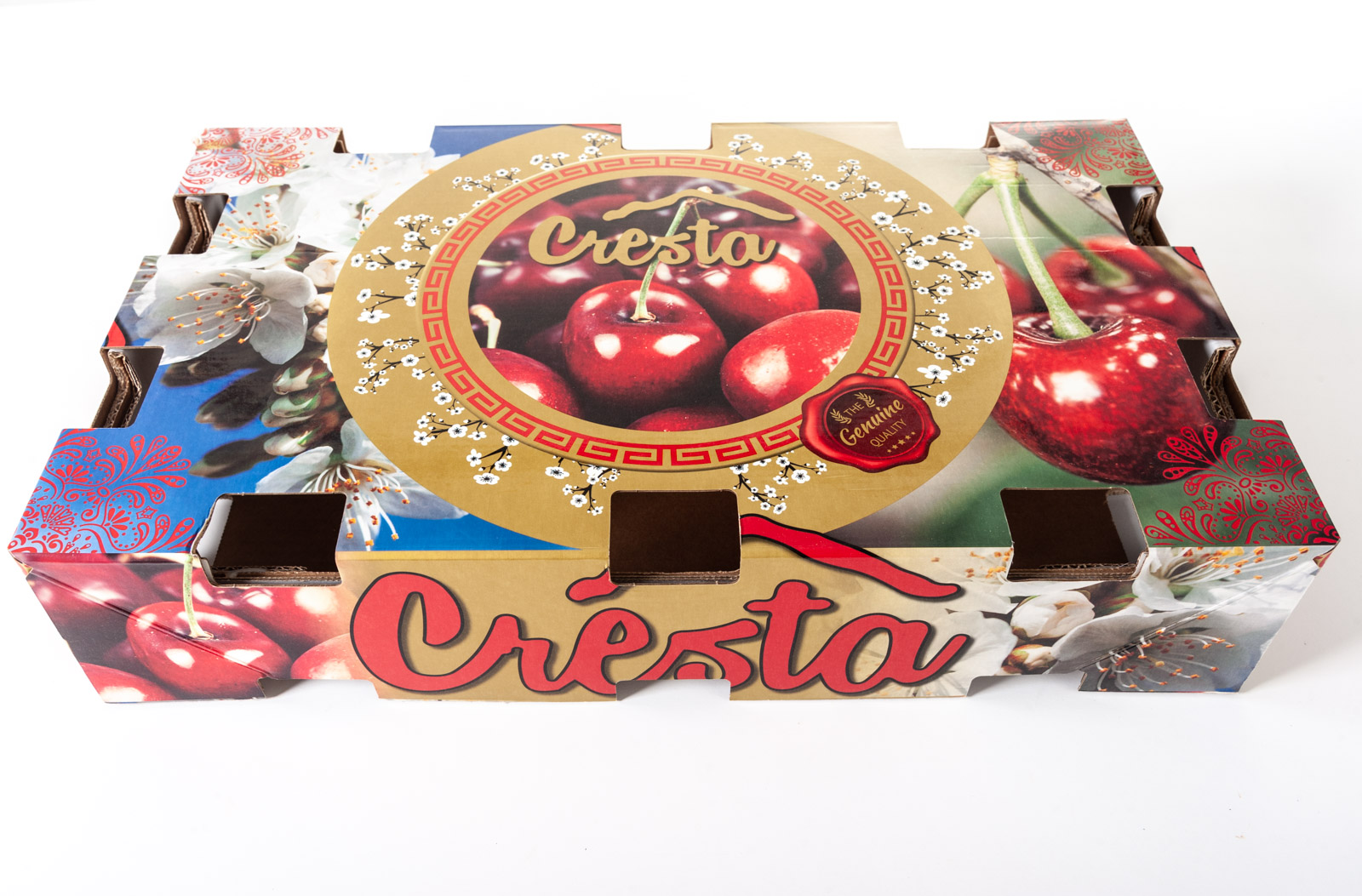 Diseño envase de cartón para Cerezas Cresta exportación - Imagina Arte Gráfico