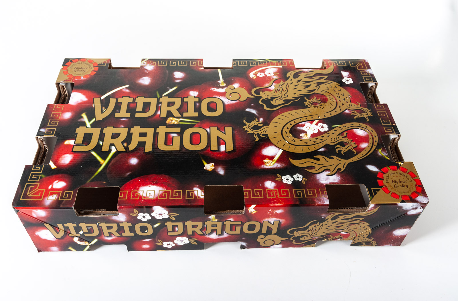 Diseño envase de cartón para Cerezas Vidrio Dragon exportación - Imagina Arte Gráfico