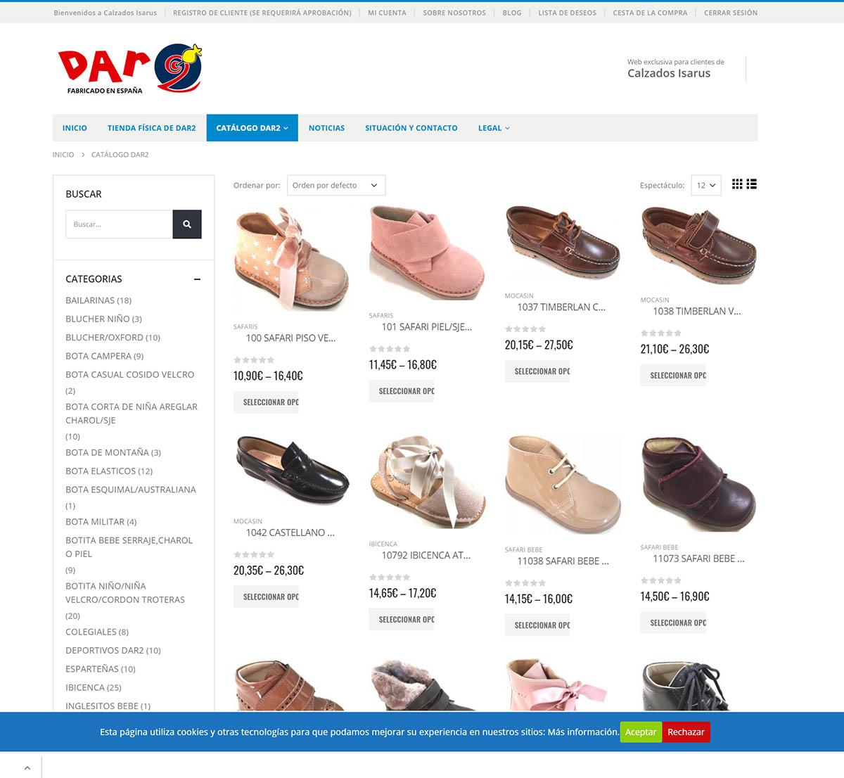 Web / Tienda B2B Calzados Isarus