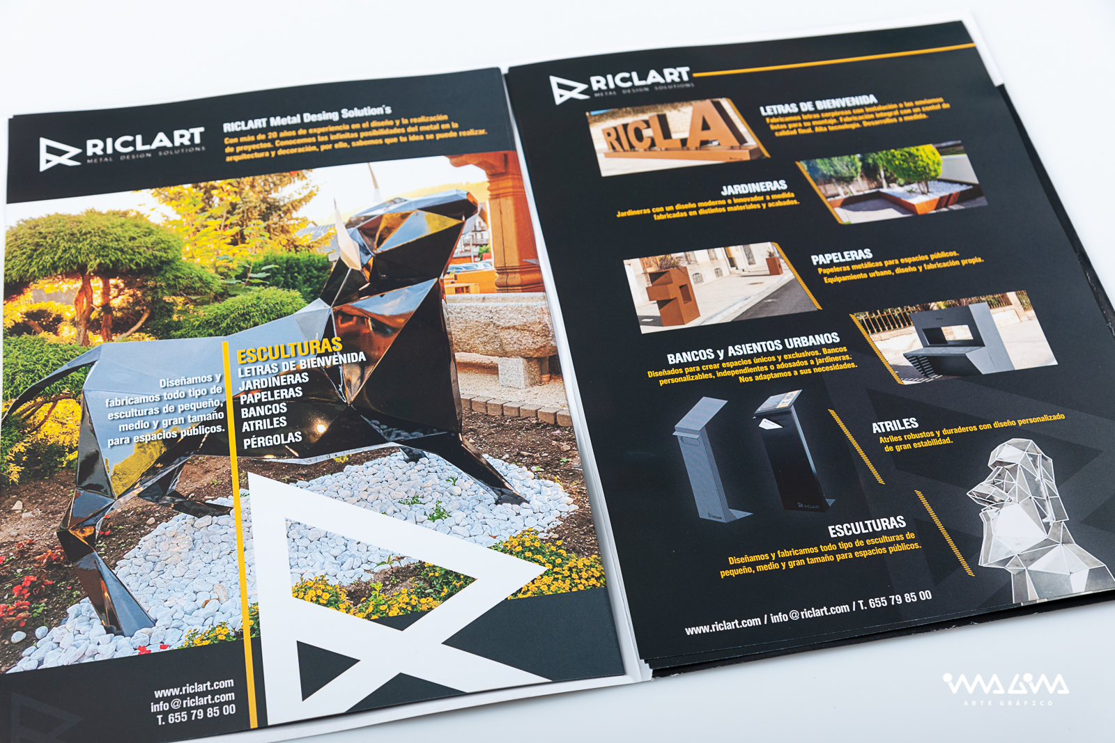 Carpeta y folleto corporativo Riclart - Imagina Arte Gráfic